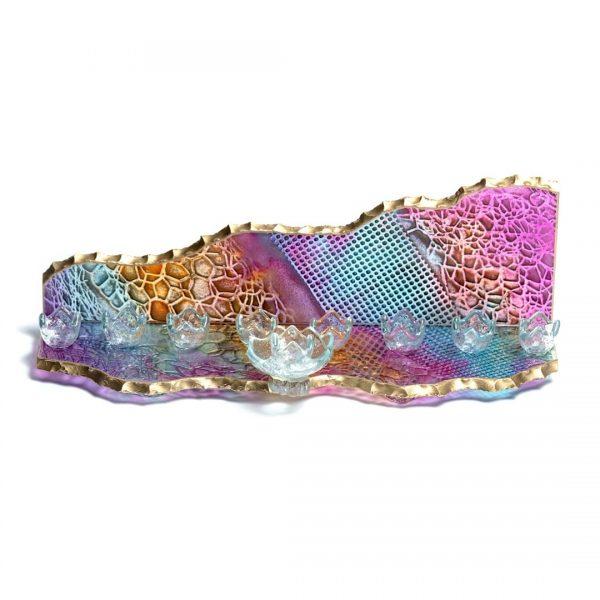 Mountain glass Menorah colorful