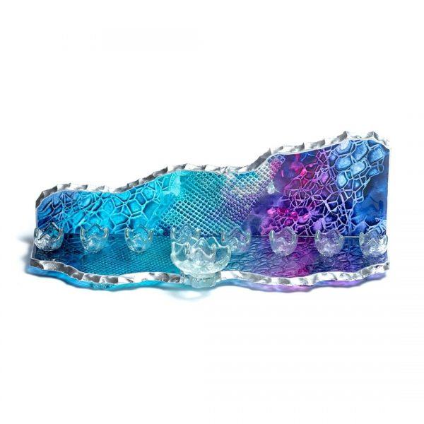 Mountain glass Menorah blue