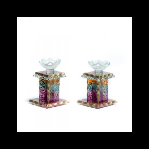 H Shape glass candlesticks